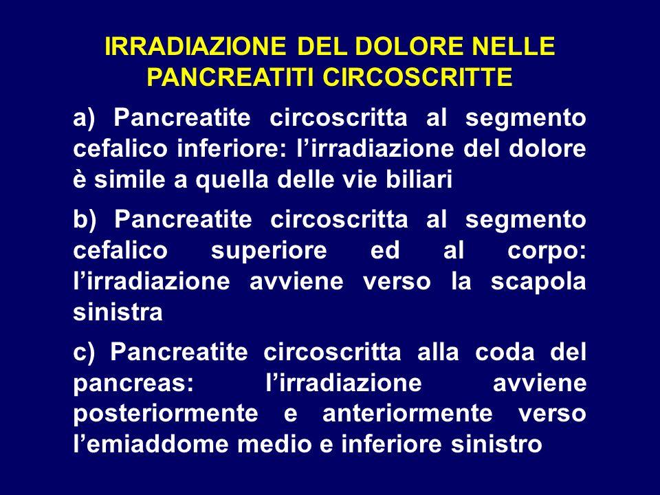 IRRADIAZIONE DEL DOLORE NELLE PANCREATITI CIRCOSCRITTE