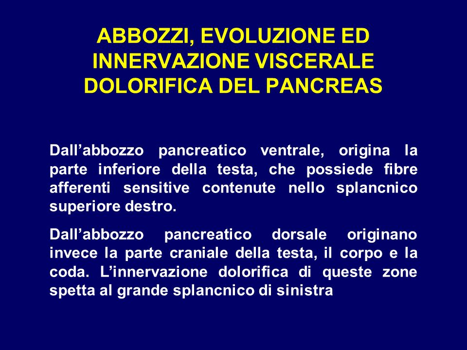 ABBOZZI, EVOLUZIONE ED INNERVAZIONE VISCERALE DOLORIFICA DEL PANCREAS