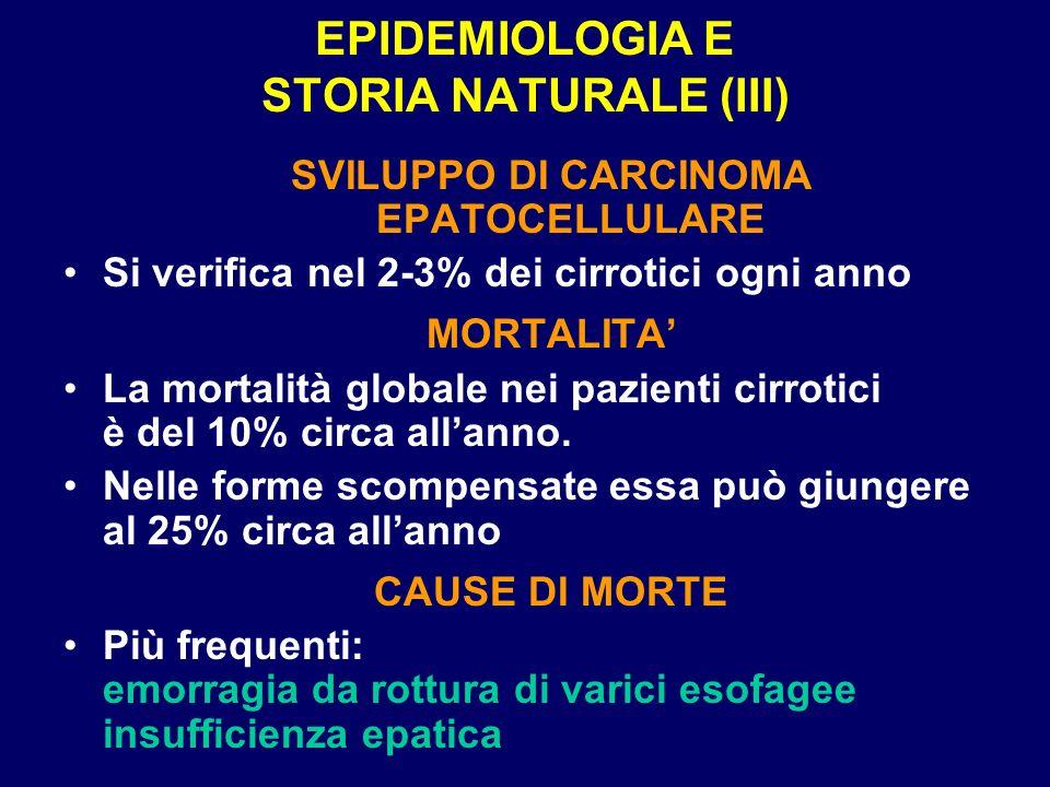 EPIDEMIOLOGIA E STORIA NATURALE (III)