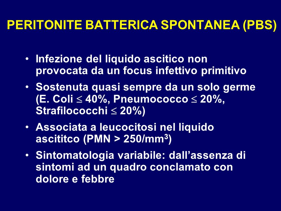 PERITONITE BATTERICA SPONTANEA (PBS)