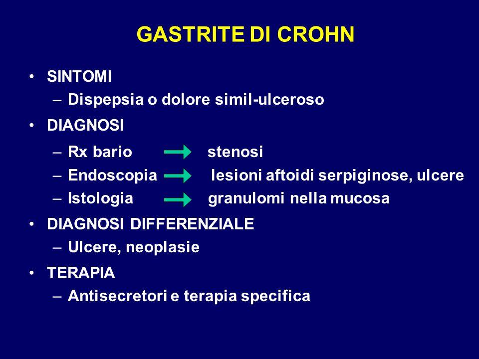 GASTRITE DI CROHN SINTOMI Dispepsia o dolore simil-ulceroso DIAGNOSI