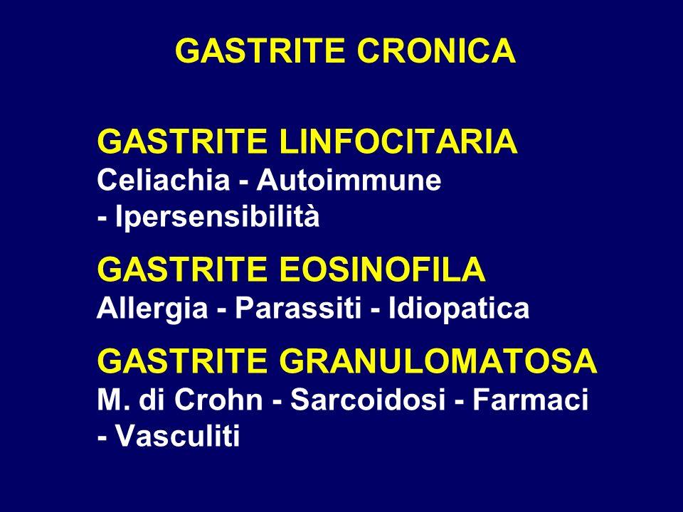 GASTRITE CRONICAGASTRITE LINFOCITARIA Celiachia - Autoimmune - Ipersensibilità.