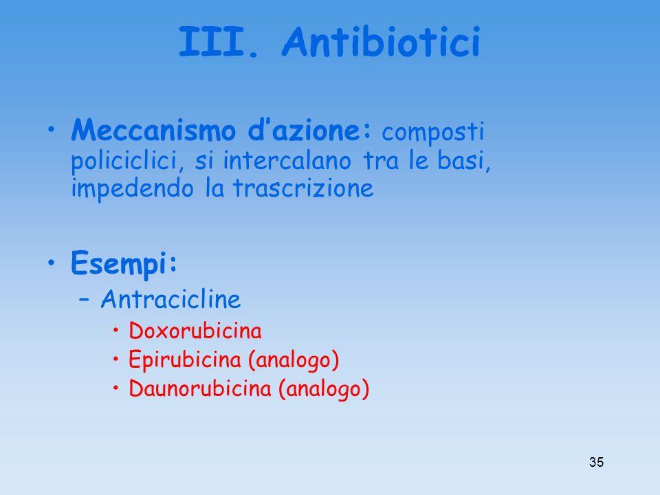 III. Antibiotici Meccanismo d'azione: composti policiclici, si intercalano tra le basi, impedendo la trascrizione.