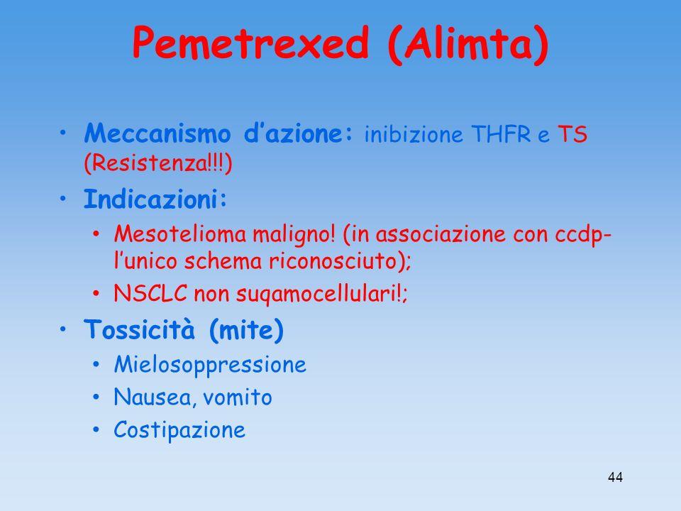 Pemetrexed (Alimta) Meccanismo d'azione: inibizione THFR e TS (Resistenza!!!) Indicazioni: