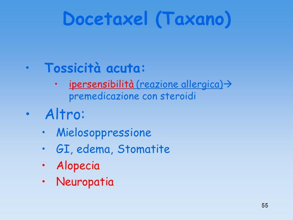 Docetaxel (Taxano) Altro: Tossicità acuta: Mielosoppressione