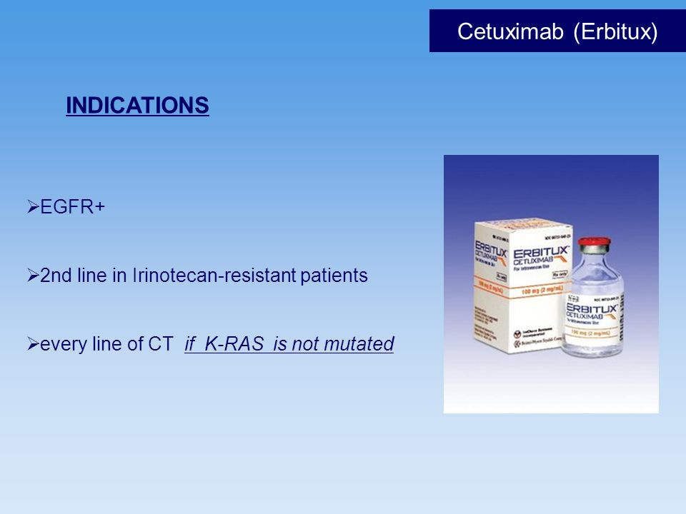 Cetuximab (Erbitux) INDICATIONS EGFR+
