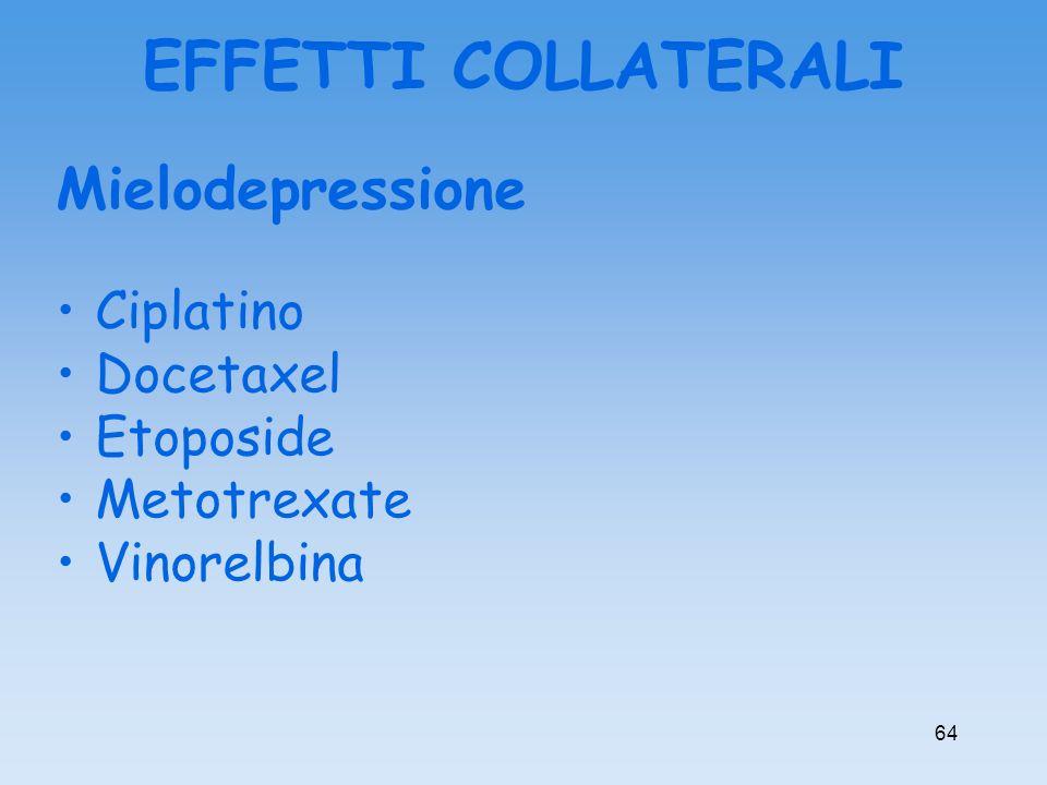 EFFETTI COLLATERALI Mielodepressione Ciplatino Docetaxel Etoposide