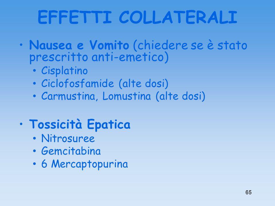 EFFETTI COLLATERALI Nausea e Vomito (chiedere se è stato prescritto anti-emetico) Cisplatino. Ciclofosfamide (alte dosi)