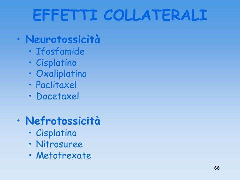 EFFETTI COLLATERALI Neurotossicità Nefrotossicità Ifosfamide