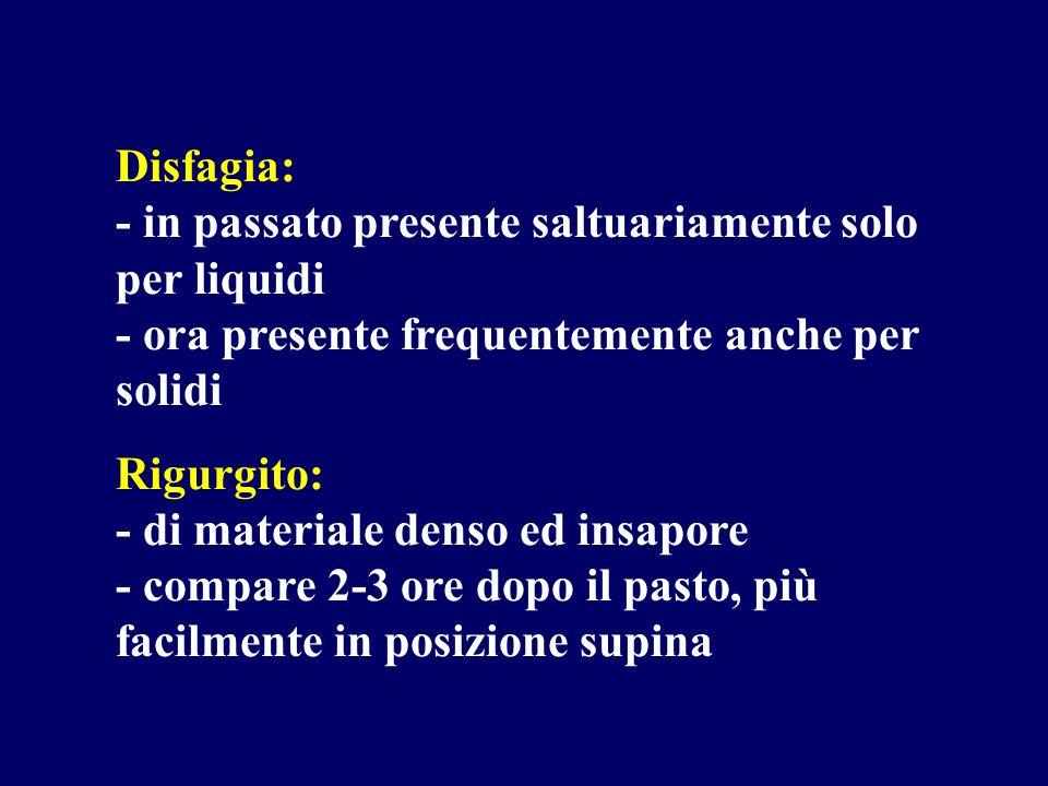 Disfagia: - in passato presente saltuariamente solo per liquidi - ora presente frequentemente anche per solidi