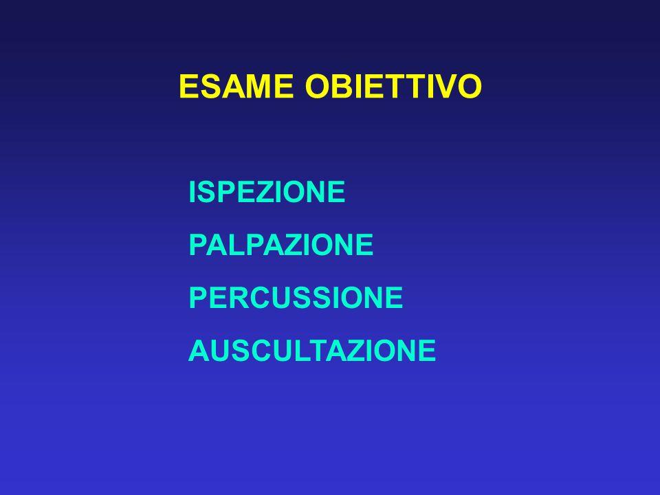 ESAME OBIETTIVO ISPEZIONE PALPAZIONE PERCUSSIONE AUSCULTAZIONE