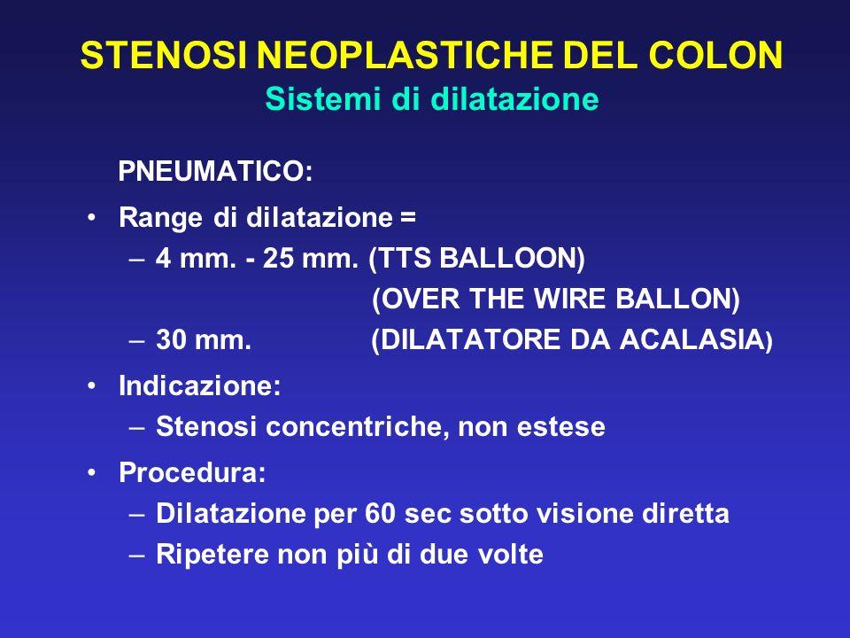 STENOSI NEOPLASTICHE DEL COLON Sistemi di dilatazione