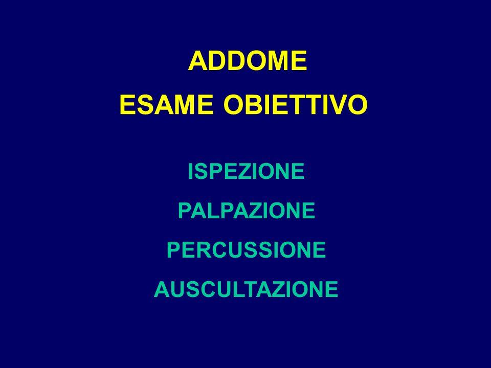 ADDOME ESAME OBIETTIVO ISPEZIONE PALPAZIONE PERCUSSIONE AUSCULTAZIONE