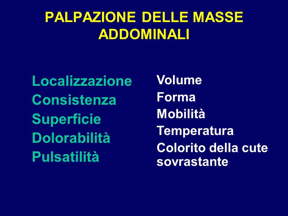 PALPAZIONE DELLE MASSE ADDOMINALI