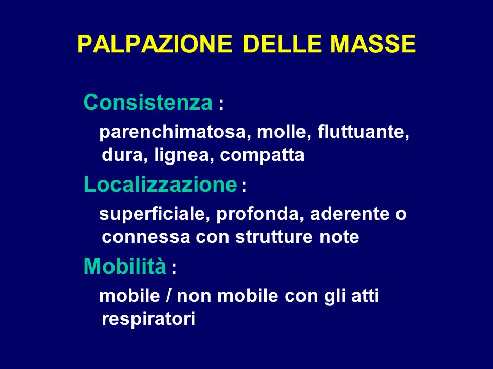 PALPAZIONE DELLE MASSE
