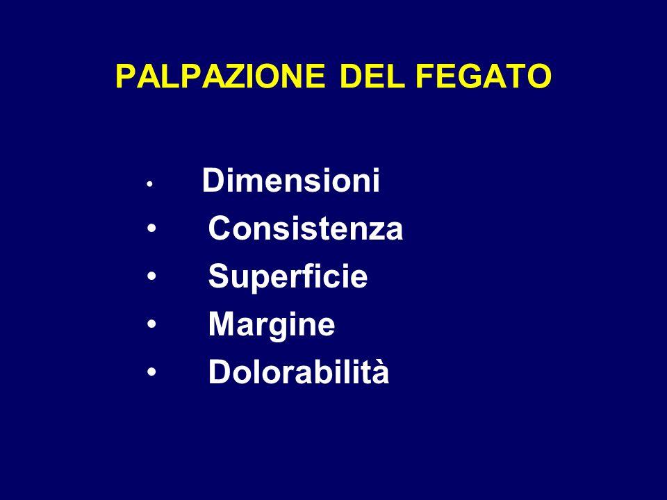 PALPAZIONE DEL FEGATO Consistenza Superficie Margine Dolorabilità