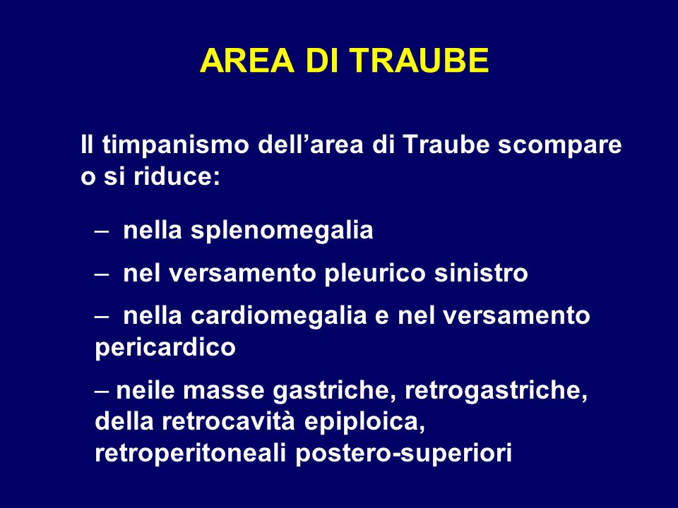 AREA DI TRAUBE Il timpanismo dell'area di Traube scompare o si riduce: