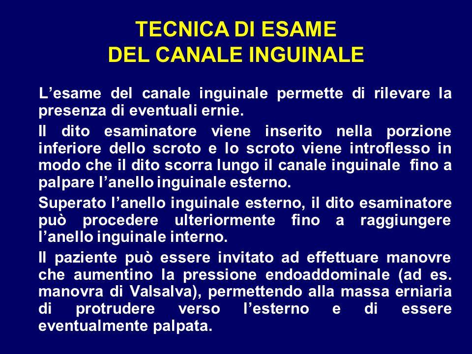 TECNICA DI ESAME DEL CANALE INGUINALE