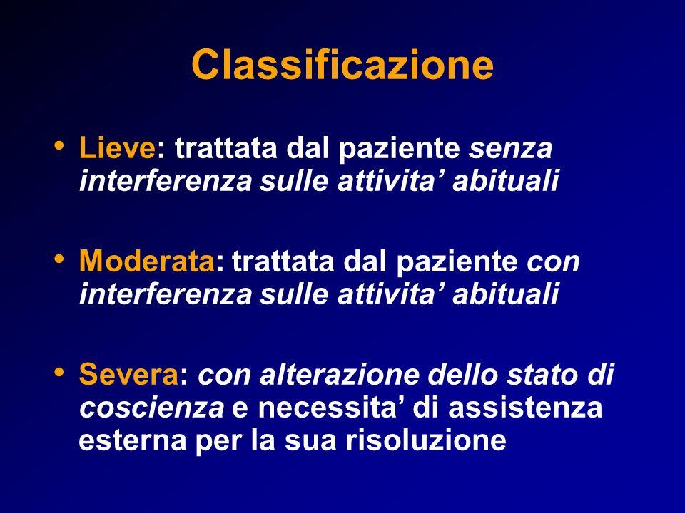 Classificazione Lieve: trattata dal paziente senza interferenza sulle attivita' abituali.