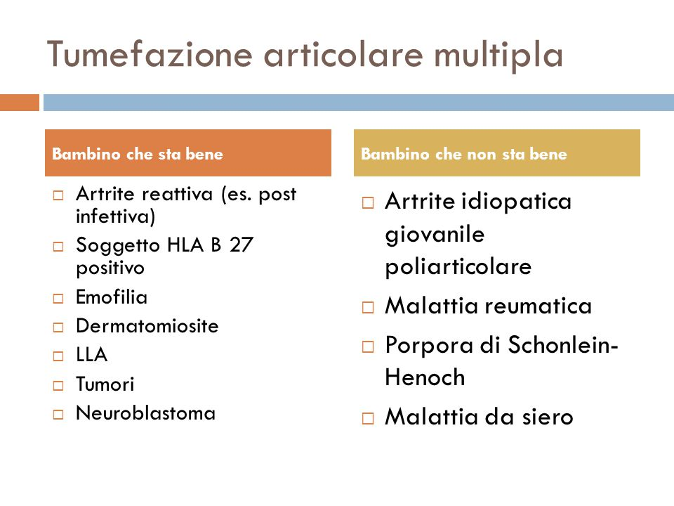 Tumefazione articolare multipla