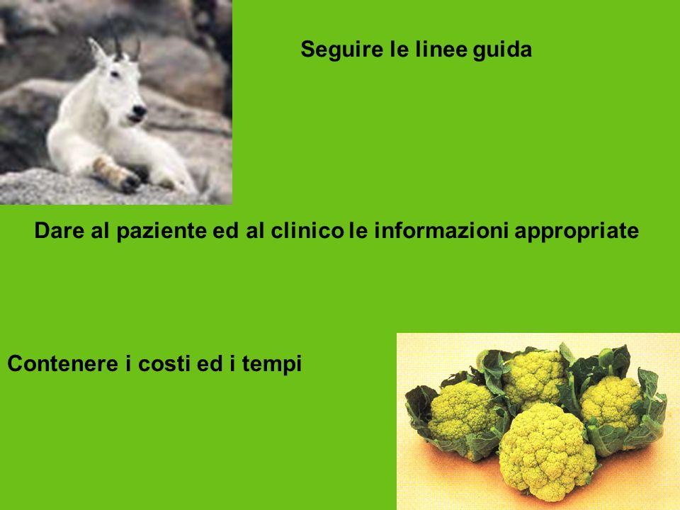 Seguire le linee guida Dare al paziente ed al clinico le informazioni appropriate.
