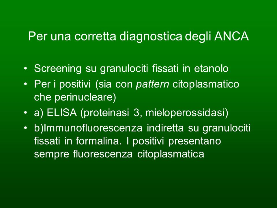 Per una corretta diagnostica degli ANCA