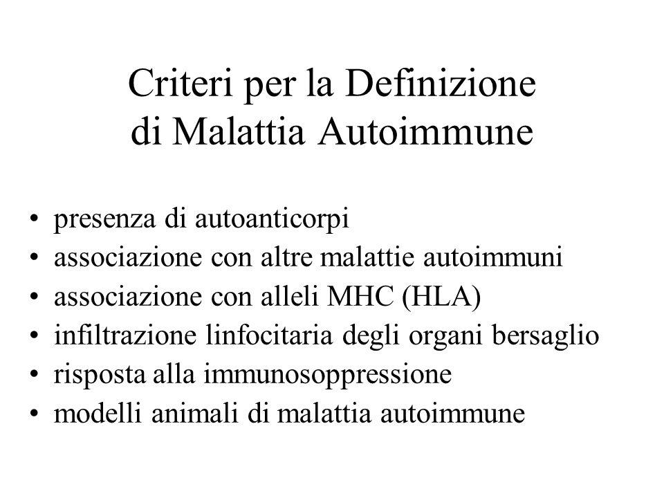 Criteri per la Definizione di Malattia Autoimmune