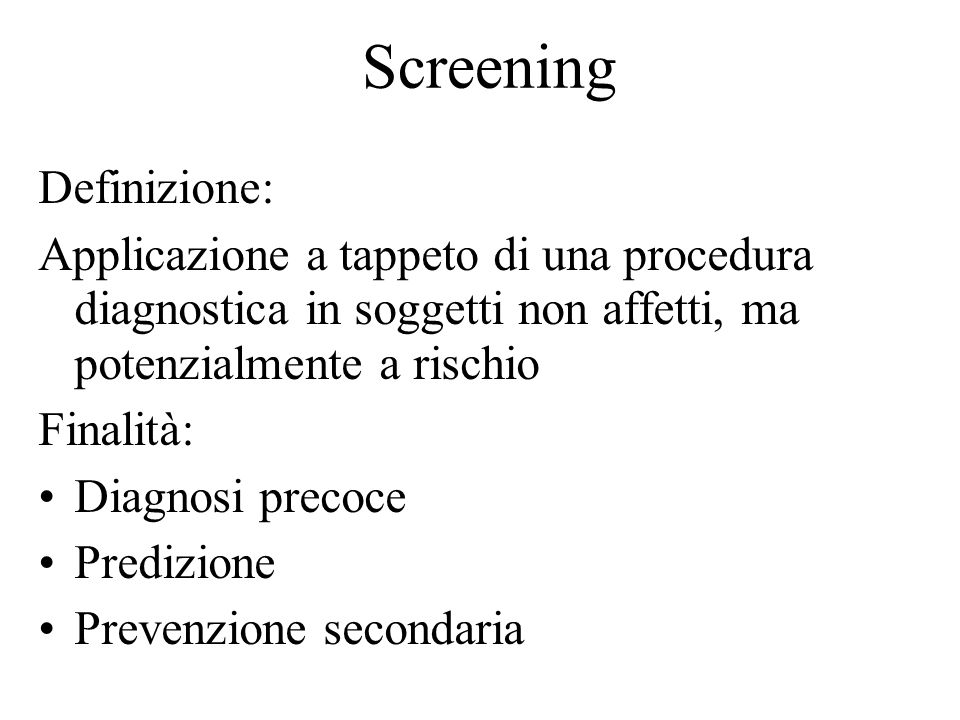 Screening Definizione:
