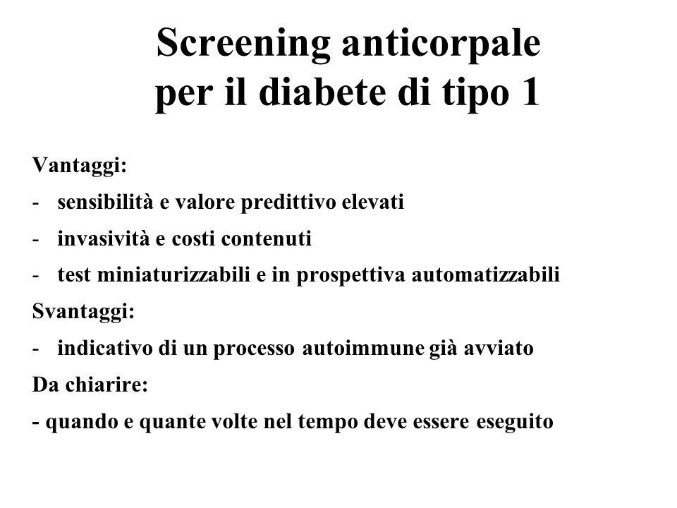 Screening anticorpale per il diabete di tipo 1