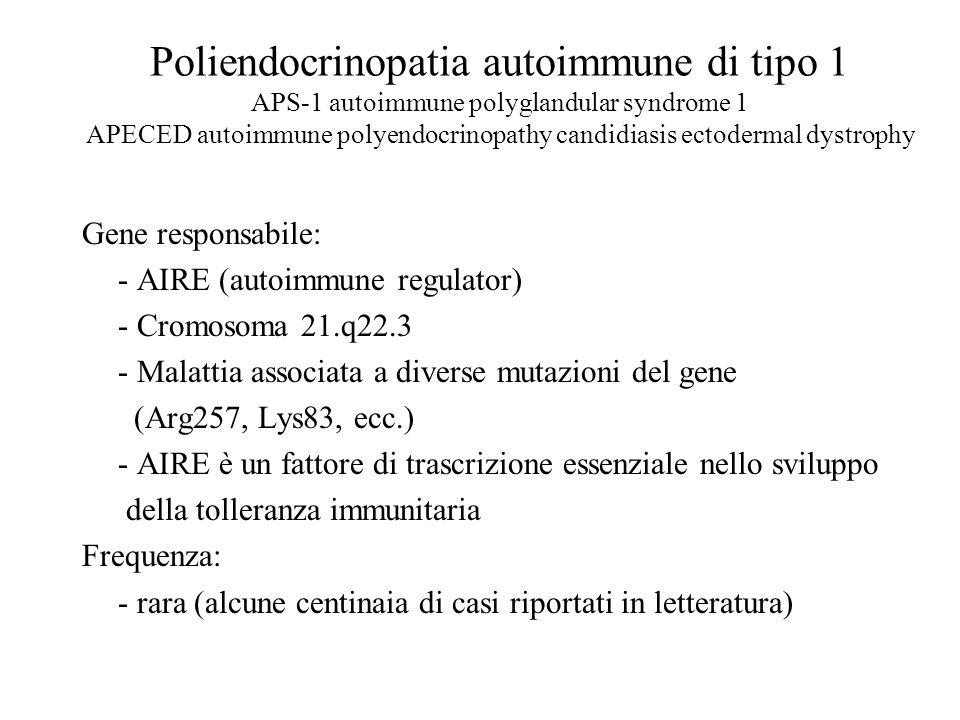 Poliendocrinopatia autoimmune di tipo 1 APS-1 autoimmune polyglandular syndrome 1 APECED autoimmune polyendocrinopathy candidiasis ectodermal dystrophy