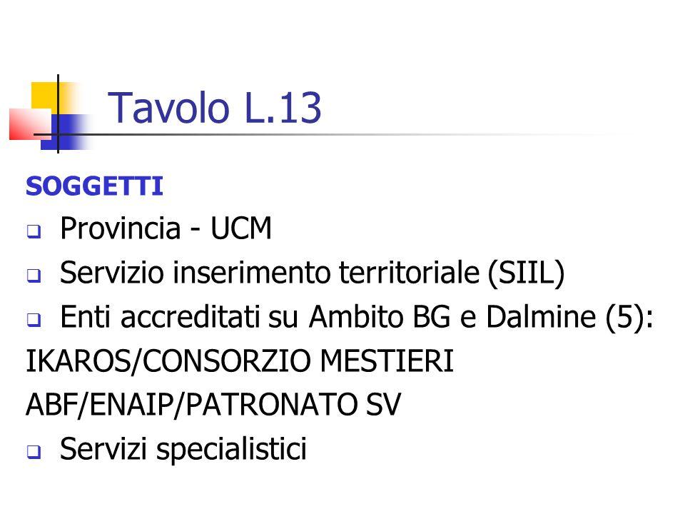 Tavolo L.13 Provincia - UCM Servizio inserimento territoriale (SIIL)
