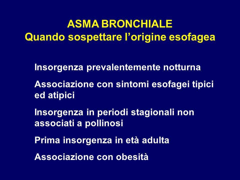 ASMA BRONCHIALE Quando sospettare l'origine esofagea