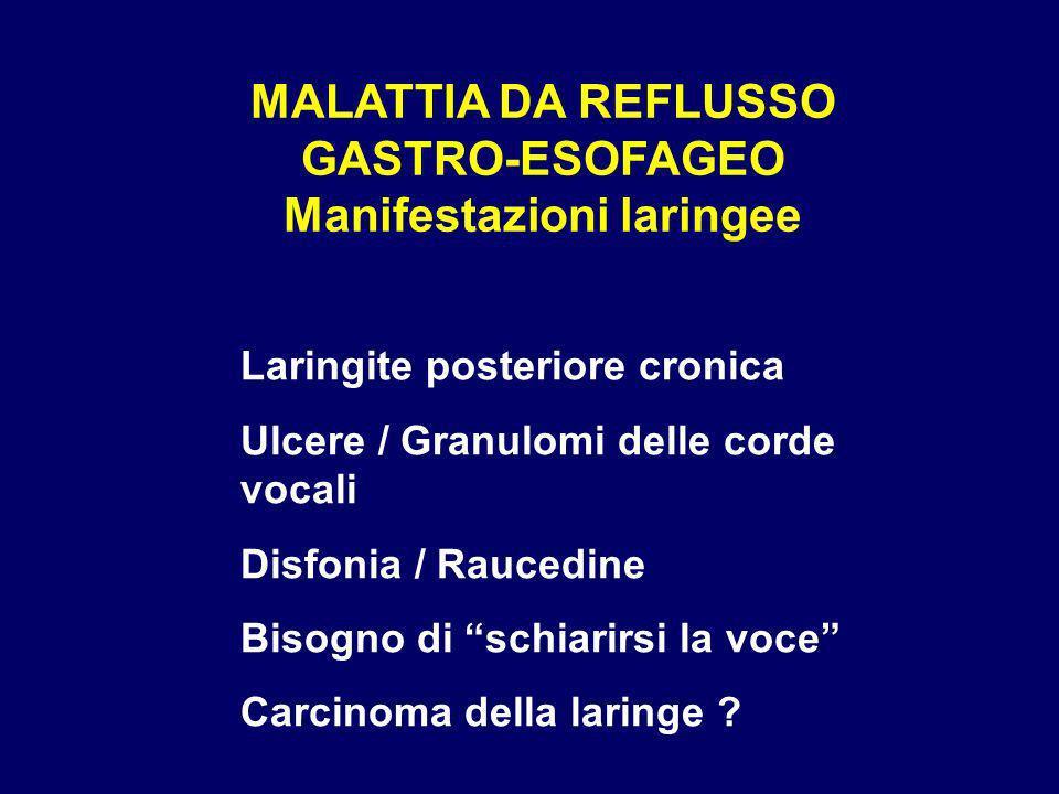 MALATTIA DA REFLUSSO GASTRO-ESOFAGEO Manifestazioni laringee