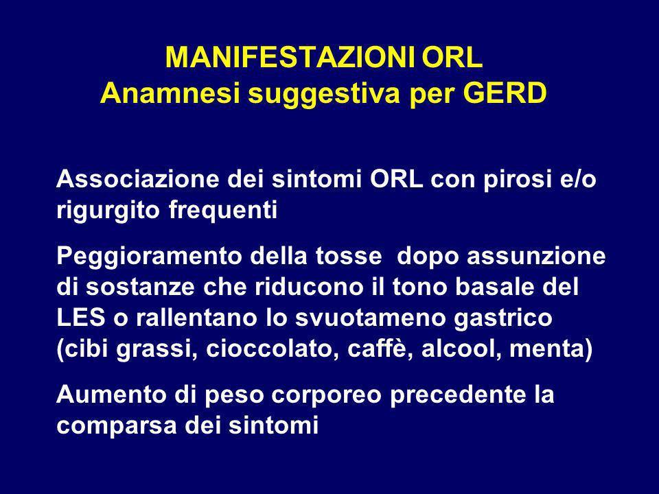MANIFESTAZIONI ORL Anamnesi suggestiva per GERD
