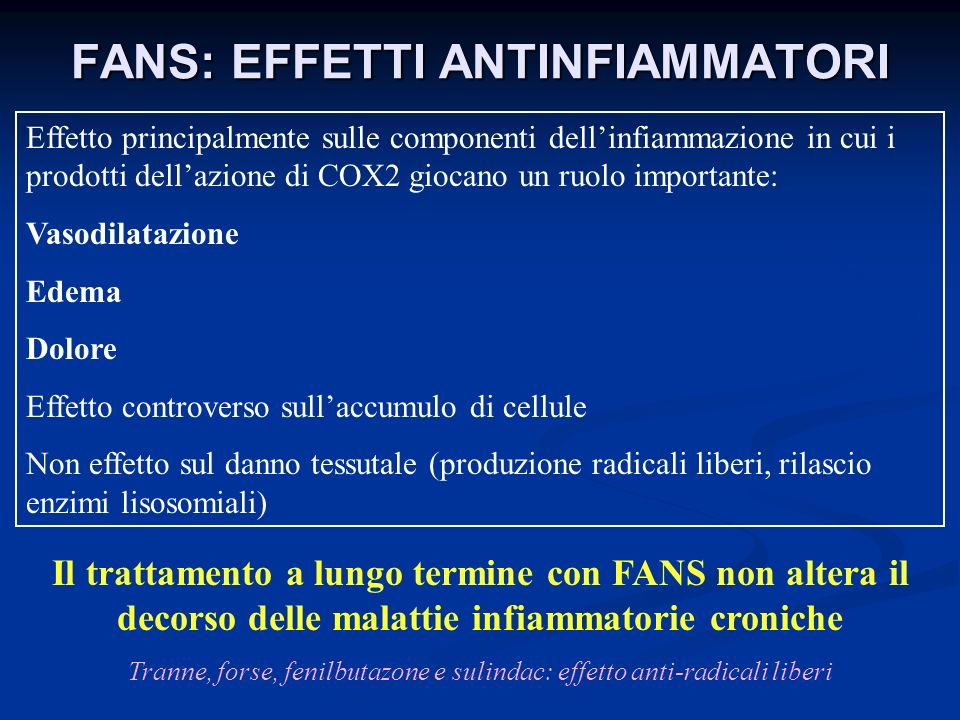 FANS: EFFETTI ANTINFIAMMATORI