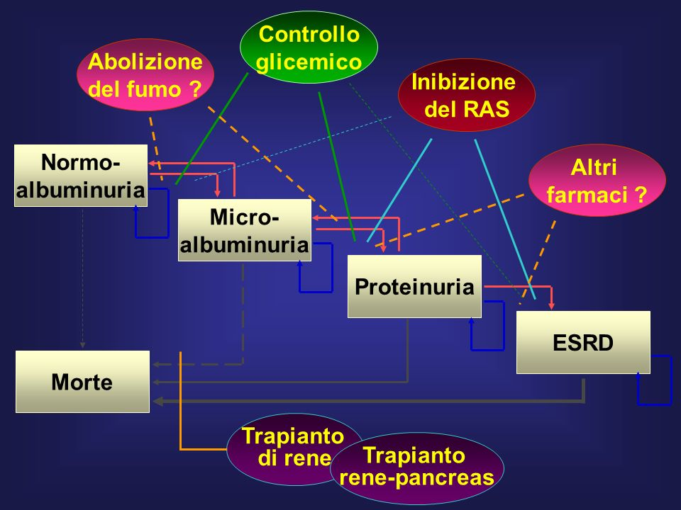 Controllo glicemico. Abolizione. del fumo Inibizione. del RAS. Normo- albuminuria. Altri. farmaci