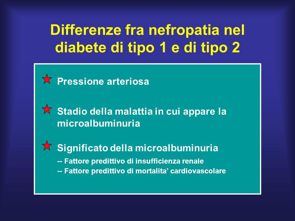 Differenze fra nefropatia nel diabete di tipo 1 e di tipo 2