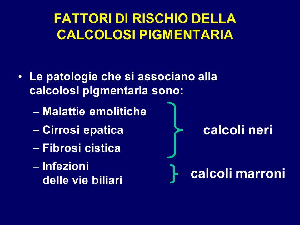 FATTORI DI RISCHIO DELLA CALCOLOSI PIGMENTARIA