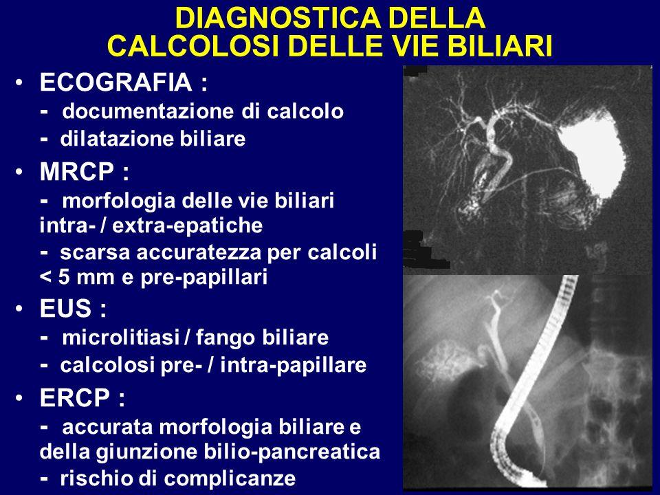 DIAGNOSTICA DELLA CALCOLOSI DELLE VIE BILIARI