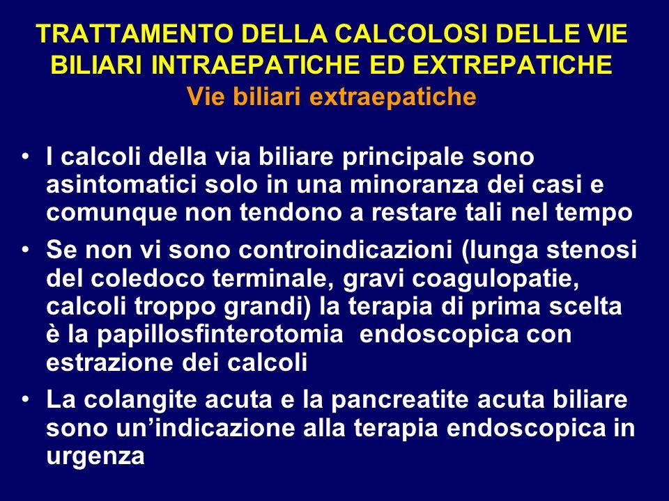 TRATTAMENTO DELLA CALCOLOSI DELLE VIE BILIARI INTRAEPATICHE ED EXTREPATICHE Vie biliari extraepatiche