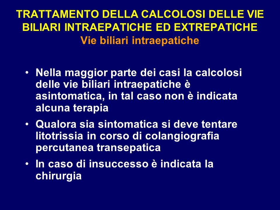 TRATTAMENTO DELLA CALCOLOSI DELLE VIE BILIARI INTRAEPATICHE ED EXTREPATICHE Vie biliari intraepatiche
