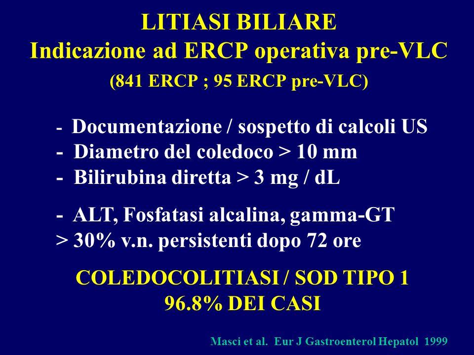 COLEDOCOLITIASI / SOD TIPO 1 96.8% DEI CASI