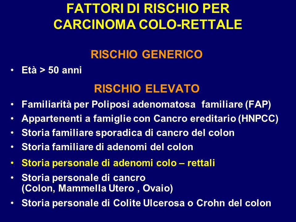 FATTORI DI RISCHIO PER CARCINOMA COLO-RETTALE