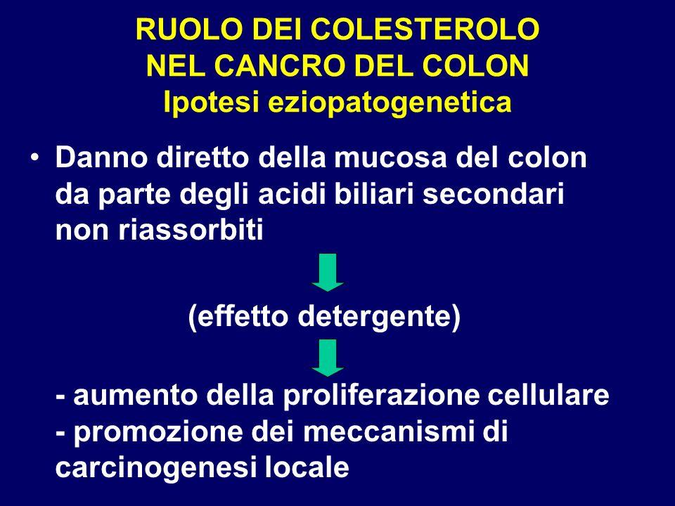 RUOLO DEI COLESTEROLO NEL CANCRO DEL COLON Ipotesi eziopatogenetica