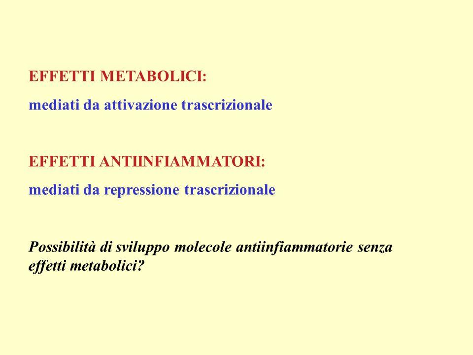 EFFETTI METABOLICI: mediati da attivazione trascrizionale. EFFETTI ANTIINFIAMMATORI: mediati da repressione trascrizionale.
