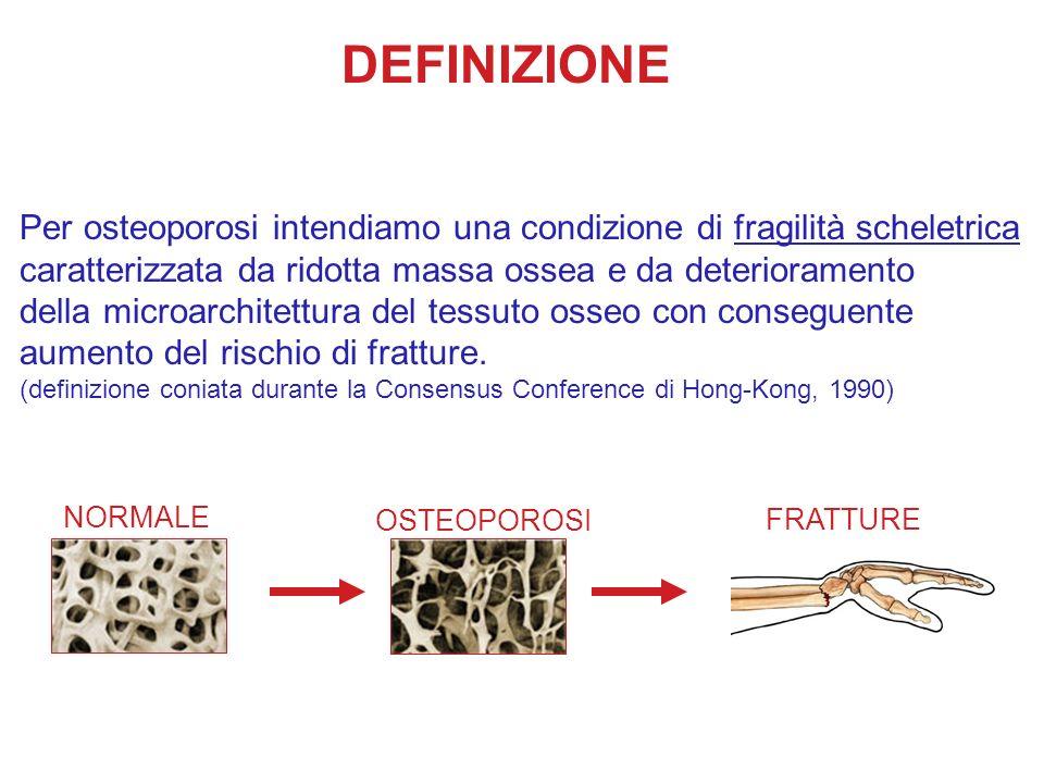 DEFINIZIONEPer osteoporosi intendiamo una condizione di fragilità scheletrica. caratterizzata da ridotta massa ossea e da deterioramento.