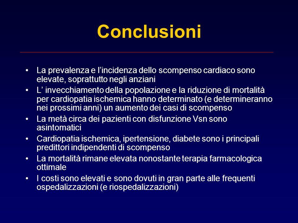 Conclusioni La prevalenza e l'incidenza dello scompenso cardiaco sono elevate, soprattutto negli anziani.