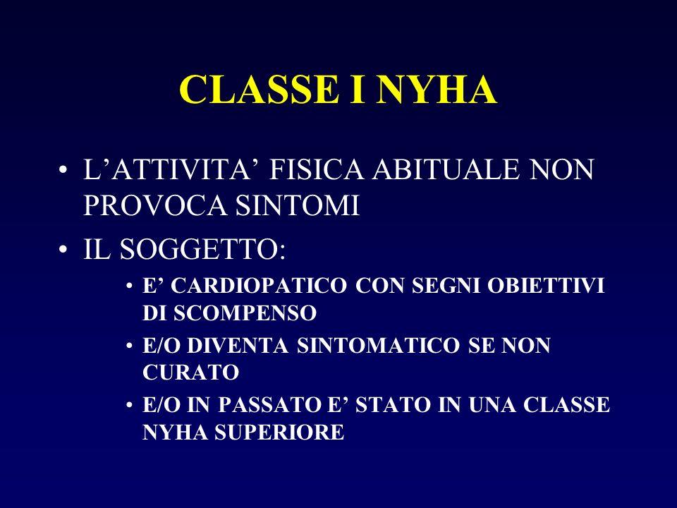 CLASSE I NYHA L'ATTIVITA' FISICA ABITUALE NON PROVOCA SINTOMI