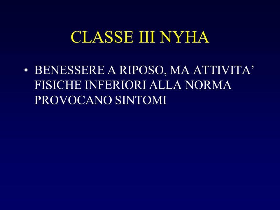 CLASSE III NYHA BENESSERE A RIPOSO, MA ATTIVITA' FISICHE INFERIORI ALLA NORMA PROVOCANO SINTOMI