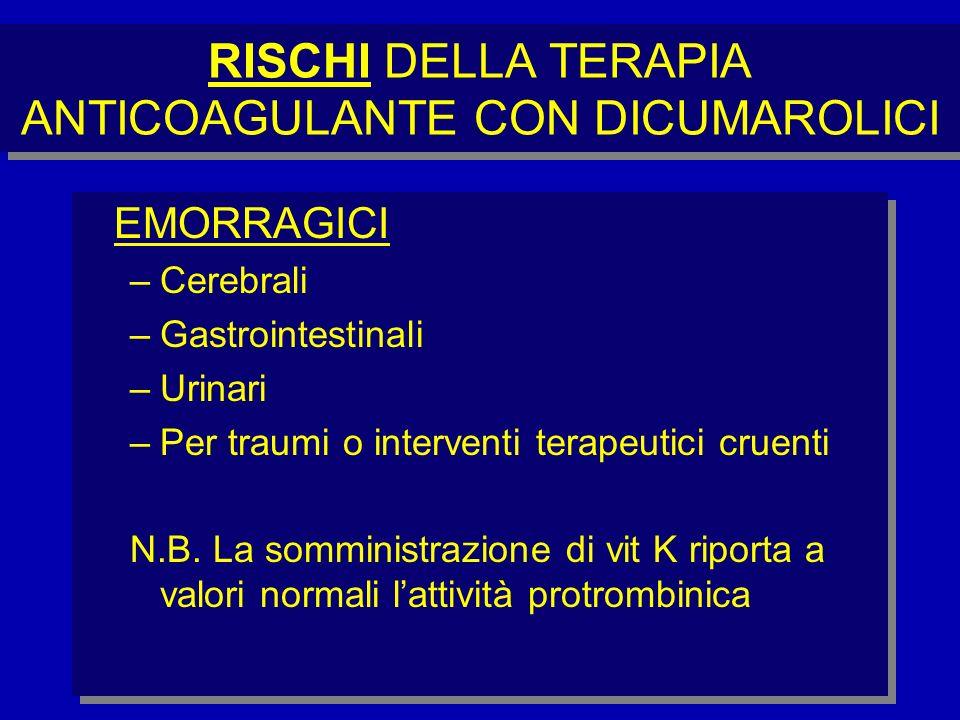 RISCHI DELLA TERAPIA ANTICOAGULANTE CON DICUMAROLICI